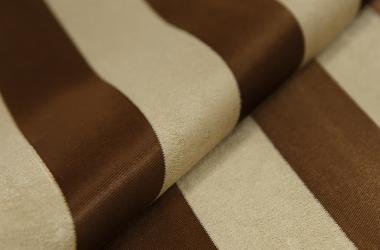 Ткань блэкаут полосатая коричневого цвета